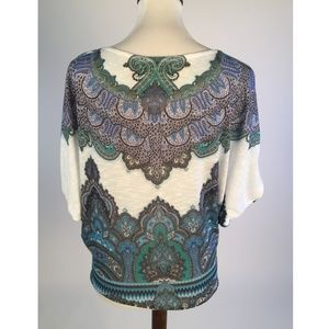 Cache Tops - Cache Womens Blouse Top Small Blue Damask B83-03Z